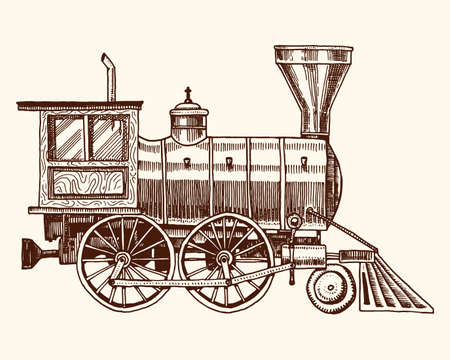 engraved vintage, hand drawn, old locomotive or train with steam on american railway. retro transport Illustration
