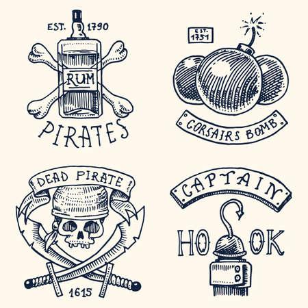 Set von gravierten, handgezeichneten, alten, Etiketten oder Abzeichen für Korsaren, Flasche Rum und Knochen, Bombe, Schädel mit Säbel, Haken. Piratenflagge. Piraten marine und nautische oder karibische Meer, Ozean Embleme. Standard-Bild - 80195696