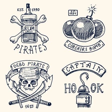 set of engraved, hand drawn, old, labels or badges for corsairs, bottle of rum and bone, bomb, skull with sabers, hook. Jolly roger. Pirates marine and nautical or Caribbean sea, ocean emblems.