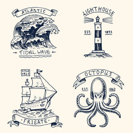 dinghy: set of engraved vintage, hand drawn, old, labels or badges for atlantic tidal wave, lighthouse and octopus or sea creature, frigate or ship. Marine and nautical or sea, ocean emblems