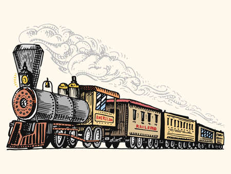 engraved vintage, hand drawn, old locomotive or train with steam on american railway. retro transport.