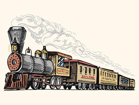Gravé vintage, dessinés à la main, vieille locomotive ou train à vapeur sur chemin de fer américain. rétro transport. Banque d'images - 80730134