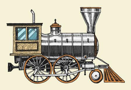 grabado vintage, dibujado a mano, vieja locomotora o tren con vapor en ferrocarril americano. transporte retro. Ilustración de vector