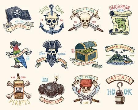 Set gegraveerd, handgetekend, oud, etiketten of badges voor corsairs, fles rum en bot, bom, schedel met sabers, haak. Piraten vlag. Piraten zee- en zeevaart- of Caribische zee, oceaanemblemen. Stock Illustratie