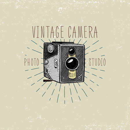 capturing: photo logo emblem or label, video, film, movie camera from first till now vintage, engraved hand drawn in sketch or wood cut style, old looking retro lens, isolated vector realistic illustration.