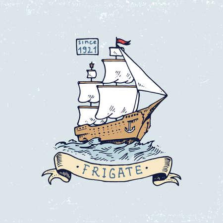 Set of engraved vintage, hand drawn, old, labels or badges for Atlantic tidal wave, frigate or ship. Illustration