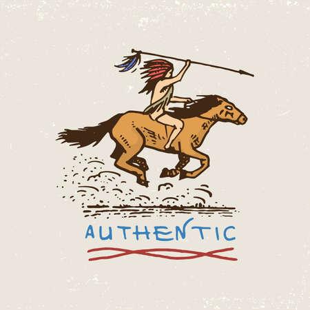 set di vintage incisi, disegnati a mano, vecchi, etichette o distintivi per indiani o nativi americani. cavaliere, autentico