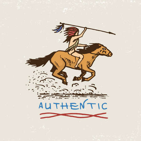 american hero: set of engraved vintage, hand drawn, old, labels or badges for indian or native american. horse rider, authentic