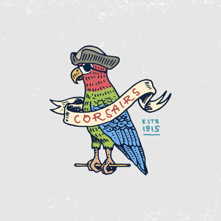 parot: Set of engraved, hand drawn, old, labels or badges for corsairs, Caribbean parrot.