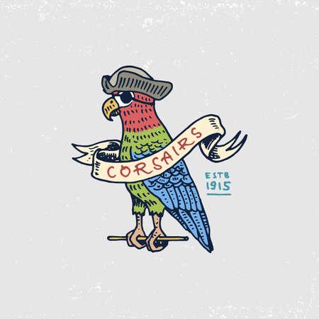 beak: Set of engraved, hand drawn, old, labels or badges for corsairs, Caribbean parrot.
