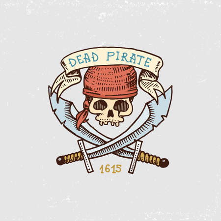 dangerous weapons: Set of engraved, hand drawn, old, labels or badges for corsairs, skull with sabers. Illustration