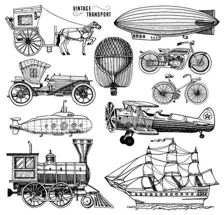 Submarine, boat and car, motorbike, Horse-drawn carriage. airship or dirigible, air balloon, airplanes corncob, locomotive. engraved hand drawn in old sketch style, vintage passengers transport.