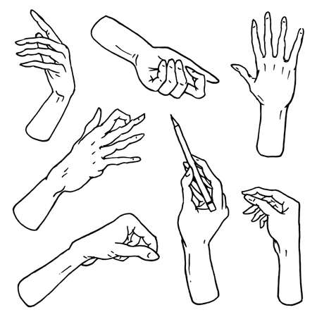 touch screen interface: Gestures arms stop, palm, thumbs up, finger pointer, ok, like and pray or handshake, fist and peace or rock n roll. engraved hand drawn in old sketch style, vintage collection of emotion and signs.