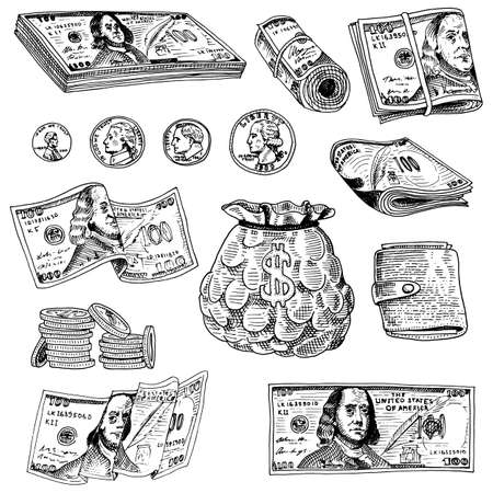 us currency: Detailed currency banknotes or american Franklin Green 100 dollars or cash and coin. engraved hand drawn in old sketch style, vintage money bill icons. financial success of US. Bag or purse of gold.