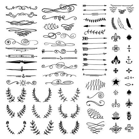 foliate: Huge pack or set engraved hand drawn in old or antique sketch style, vintage flourishes calligraphic design elements decorations. logo or emblems, retro label and badge. ornaments and monograms. Illustration