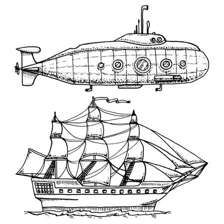 dives from Military Submarine or underwater boat with periscope to deep sea. cruise ship or Sailboat illustration. engraved hand drawn in old sketch style, vintage transport.