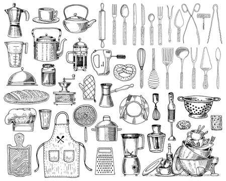 Grembiule o pinafora e cappuccio, mattarello e casseruola o corolla, tavola di legno. Chef e utensili da cucina sporchi, roba da cucina per la decorazione del menu. mano incisa disegnata in vecchio stile schizzo e vintage. Vettoriali