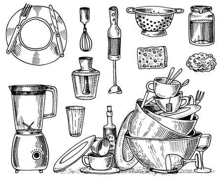 colander, blender and juicer, dirty dishes, jam and sponge for washing. Chef and dirty kitchen utensils, cooking stuff for menu decoration. engraved hand drawn in old sketch or and vintage style. Illustration