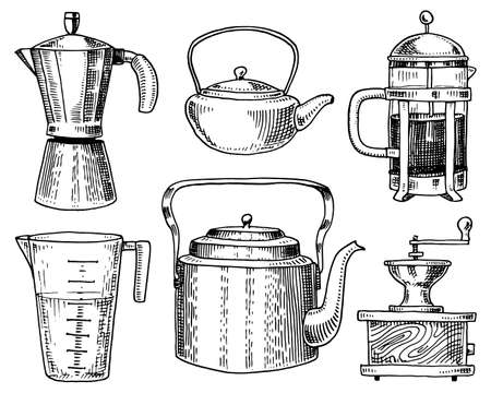 Coffee maker or grinder, french press, measuring capacity, Chinese teapot or kettle. Chef and kitchen utensils, cooking stuff for menu decoration. engraved hand drawn in old sketch, vintage style.