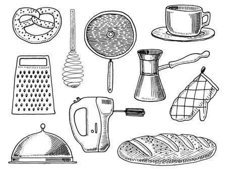 Grater and whisk, frying pan, Turk for coffee, cup of tea, mixer and baked loaf. Chef and kitchen utensils, cooking stuff for menu decoration. engraved hand drawn in old sketch and vintage style.