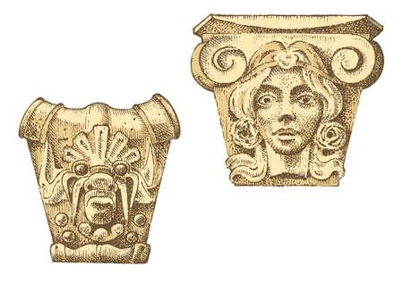 Detail ancient classic building. Illustration