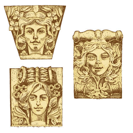 doric: Detail ancient classic building, architectural ornamental elements, showing Tuscan, Doric, Ionic and Roman column. engraved hand drawn in old sketch, vintage and Antique, baroque or Gothic style.