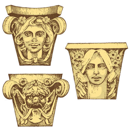 Detail ancient classic building, architectural ornamental elements. showing Tuscan, Doric, Ionic and Roman column. engraved hand drawn in old sketch, vintage and Antique, baroque or Gothic style.