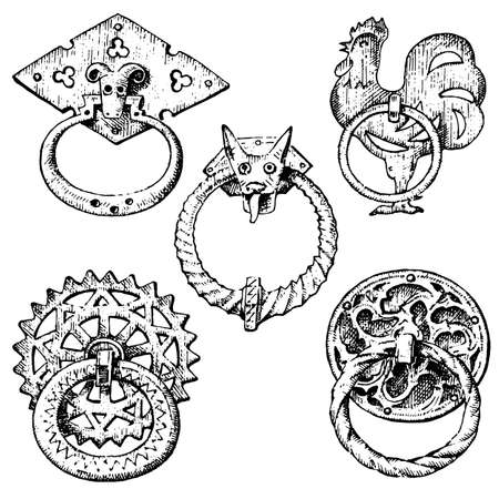 Detail ancient building, architectural ornamental elements, wooden door knob, knocker or handles. Rooster and mouse. engraved hand drawn in old sketch, vintage and Antique, baroque or Gothic style.