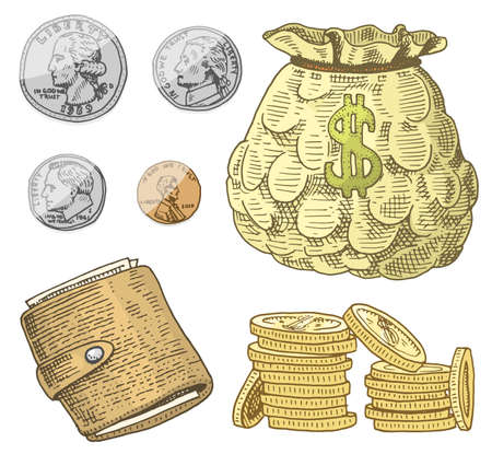Detailed currency banknotes or american Franklin Green 100 dollars or cash and coin. engraved hand drawn in old sketch style, vintage money bill icons. financial success of US. Bag or purse of gold.