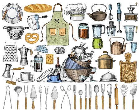 Schort of pinaphora en kap, rolpen en pan of corolla, houten bord. Chef-kok en vuile keukengerei, kookgerei voor menu-decoratie. Gegraveerde hand getekend in oude schets en vintage stijl