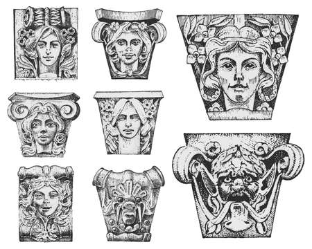 Detail ancient classic building, architectural ornamental elements showing Tuscan, Doric, Ionic and Roman column engraved hand drawn in old sketch, vintage and Antique, baroque or Gothic style