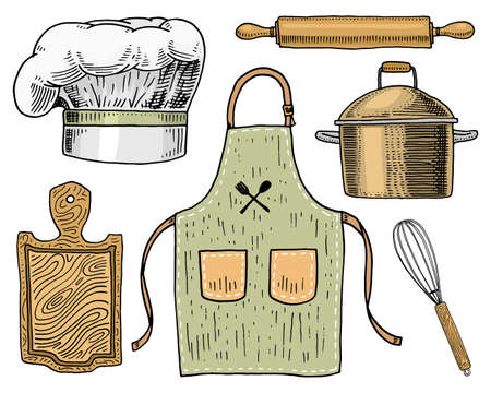Apron or pinaphora and Hood, rolling pin and saucepan or corolla, wooden board. Chef and kitchen utensils, cooking stuff for menu decoration. engraved hand drawn in old sketch and vintage style.