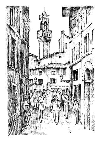 Scene Streets in European town Florence in Italy . engraved hand drawn in old sketch and vintage style. historical architecture with buildings, perspective view. Travel postcard. Palazzo Vecchio. Illustration