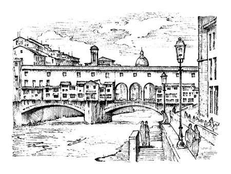 Landschaft in der europäischen Stadt Florenz in Italien. gravierte Hand gezeichnet in der alten Skizze und im Vintage-Stil. historische Architektur mit Gebäuden, perspektivische Ansicht. Reisepostkarte. Ponte Vecchio Brücke. Vektorgrafik