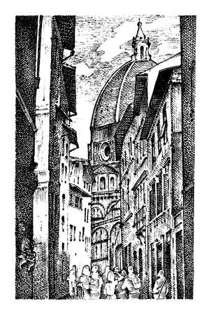 landscape in European town Florence in Italy . engraved hand drawn in old sketch and vintage style. historical architecture with buildings, perspective view. Travel postcard. Santa Maria del Fiore. Illustration
