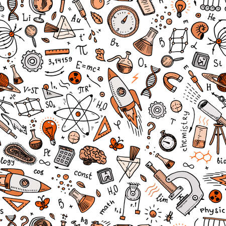engraved hand drawn in old sketch and vintage style. scientific formulas and calculations in physics and mathematics or astronomy on whiteboard. Education and Science. Seamless pattern Illustration