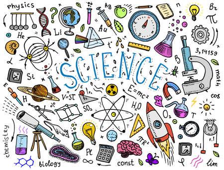 오래 된 스케치와 빈티지 스타일에서 그린 새겨진 손. 물리학 및 수학, 화학 및 생물학 또는 화이트 보드의 천문학에서의 과학적 공식 및 계산. 교육 및 과학. 벡터 (일러스트)