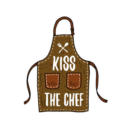 apron or kitchen utensils, cooking stuff for menu decoration. baking emblem or label, engraved hand drawn in old sketch or and vintage style. Kiss the chef
