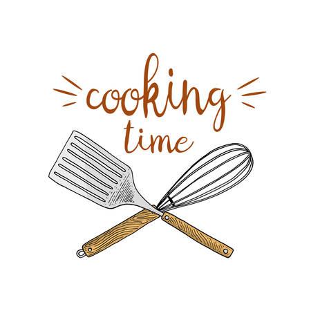 Whisk or kitchen, cooking stuff for menu decoration. baking logo emblem or label, engraved hand drawn in old sketch or and vintage style