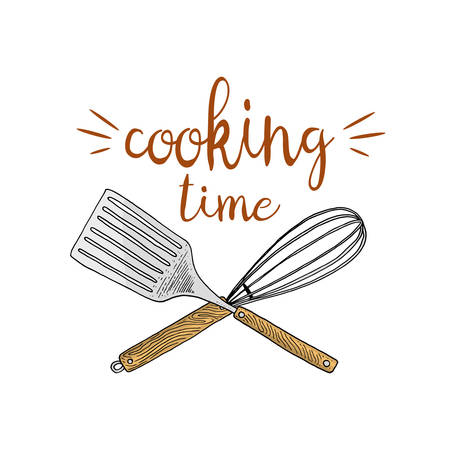 Whisk or kitchen, cooking stuff for menu decoration. baking logo emblem or label, engraved hand drawn in old sketch or and vintage style