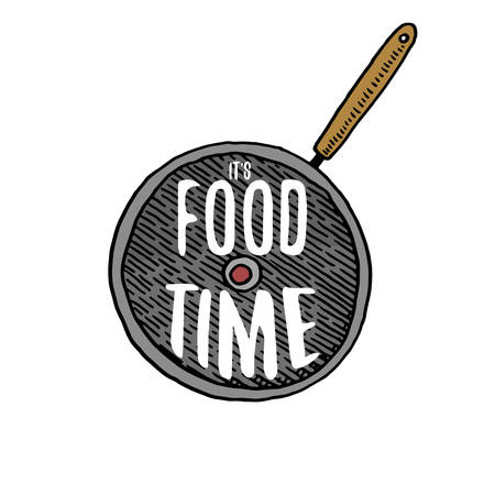 pan or kitchen utensils, cooking stuff for menu decoration. baking logo emblem or label, engraved hand drawn in old sketch or and vintage style. It s food time