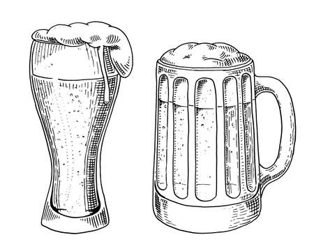 Beer glass, mug or bottle of oktoberfest. engraved in ink hand drawn in old sketch and vintage style for web, invitation to party or pub menu. design element isolated on white background.