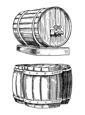 wine or rum, beer classical wooden barrels for rural landscape with villa front and side view. engraved in ink hand drawn in old sketch and vintage style for web or pub menu. design of oktoberfest.