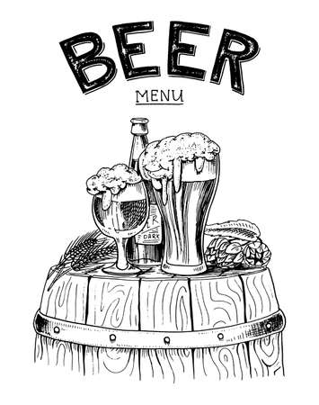 beer classical wooden barrels for Logo or emblem and banner. engraved in ink hand drawn in old sketch and vintage style for web or pub menu. design of oktoberfest. Illusztráció