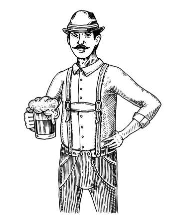 and delighted: A man in traditional Belgian or Bavarian clothes with beer. engraved in ink hand drawn in old sketch and vintage style for web or pub menu. design of oktoberfest. Illustration
