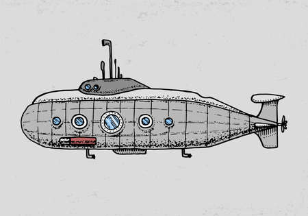 dives from Military Submarine or underwater boat with periscope to deep sea. engraved hand drawn in old sketch style, vintage transport.