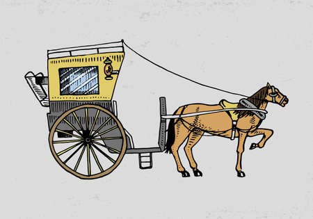 Horse-drawn carriage or coach. Travel illustration. engraved hand drawn in old sketch style, vintage transport.