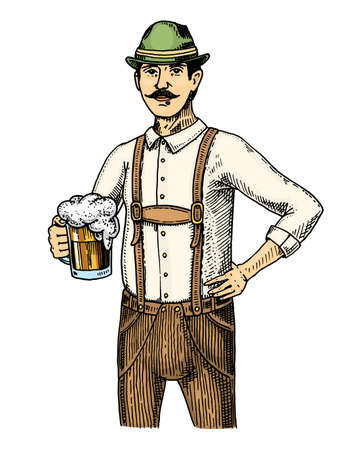 A man in traditional Belgian or Bavarian clothes with beer engraved in ink hand drawn in old sketch and vintage style for web or pub menu design of Oktoberfest.
