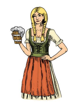 맥주와 함께 전통적인 벨기에 또는 바이에른 옷을 입은 여자. 잉크에 새겨진 오래 된 스케치와 웹 또는 펍 메뉴에 대 한 빈티지 스타일에 그려진 손. 옥