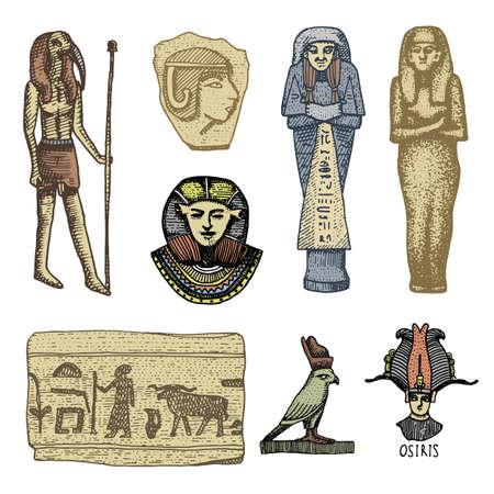 Egyptian Symbols Pharaoh Scorob Hieroglyphics And Osiris Head
